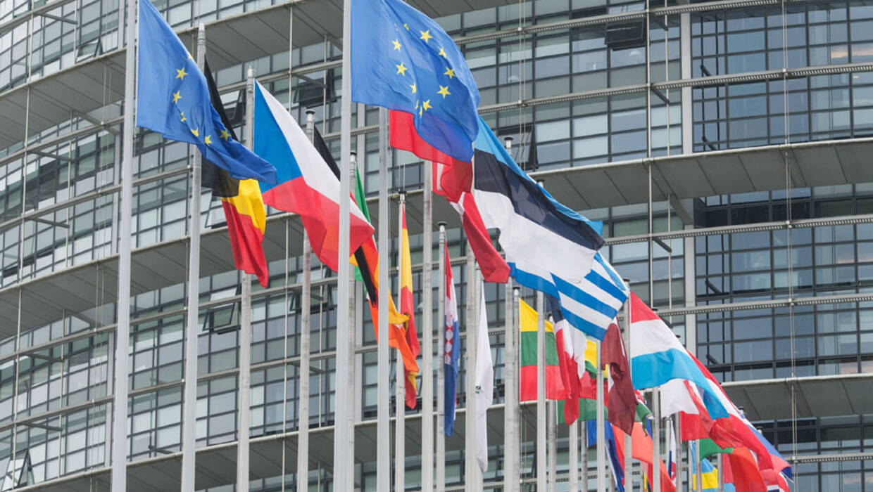 European countries' flags and the flag of Europe fly in front of the 'Louise Weiss Building', seat of the European Parliament, in Strasbourg, France, 10 May 2016. Fot. EPA/PATRICK SEEGER