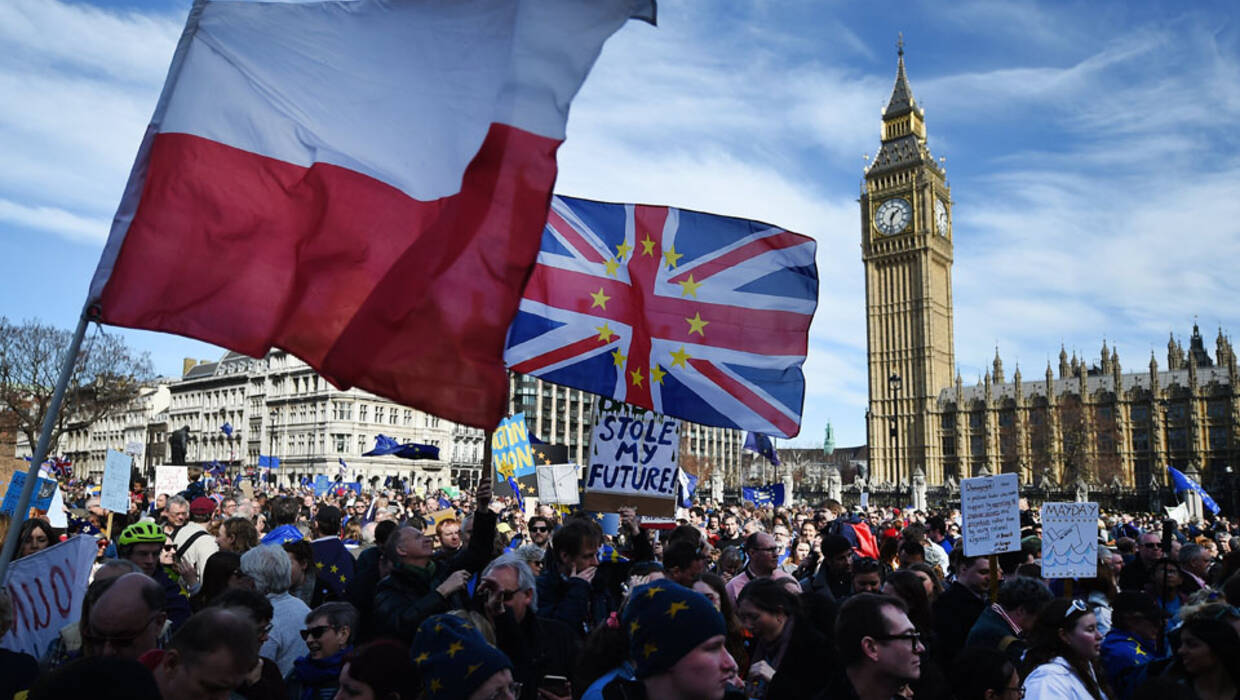 A Polish national flag (L) is carried among Pro EU protesters demonstrating during a rally outside parliament in London, Britain, 25 March 2017. Demonstrators called for the UK to stay in the EU. Prime Minister Theresa May is set to trigger Article 50 on 29 March.  Fot. PAP/EPA/ANDY RAIN