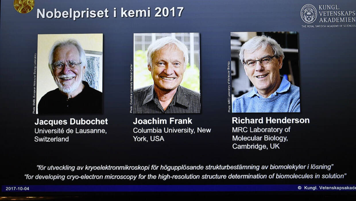 epa06243649 A screen shows (L-R) scientists Jacques Dubochet, Joachim Frank and Richard Henderson who were award the Nobel Prize in Chemistry 2017, during a press conference at the Royal Academy of Sciences in Stockholm, Sweden, 04 October 2017. The Karolinska Institute of Stockholm, Sweden, announced 04 October 2017, that scientists Jacques Dubochet, University of Lausanne, Switzerland, Joachim Frank, Columbia University, New York, USA and Richard Henderson, MRC Laboratory of Molecular Biology, Cambridge, Britain were awarded with the 2017 Nobel Prize in Chemistry for 'developing cryo-electron microscopy for the high-resolution structure determination of biomolecules in solution'. EPA/Claudio Bresciani SWEDEN OUT PAP/EPA/Claudio Bresciani