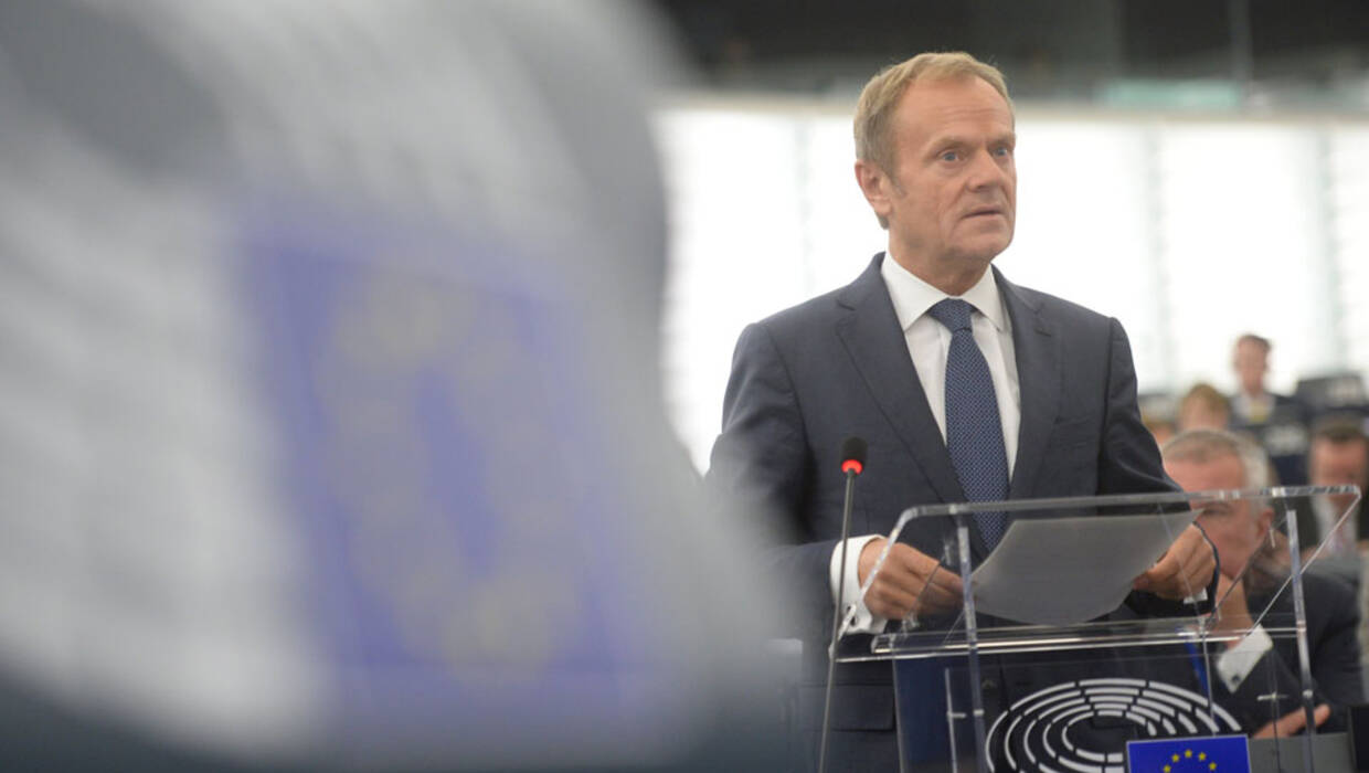 epa06285491 European Council President Donald Tusk delivers his speech at the European Parliament in Strasbourg, France, 24 October 2017 during the debate on a roadmap for the future of Europe. EPA/PATRICK SEEGER Dostawca: PAP/EPA. Archiwum PAP/EPA © 2017 / PATRICK SEEGER