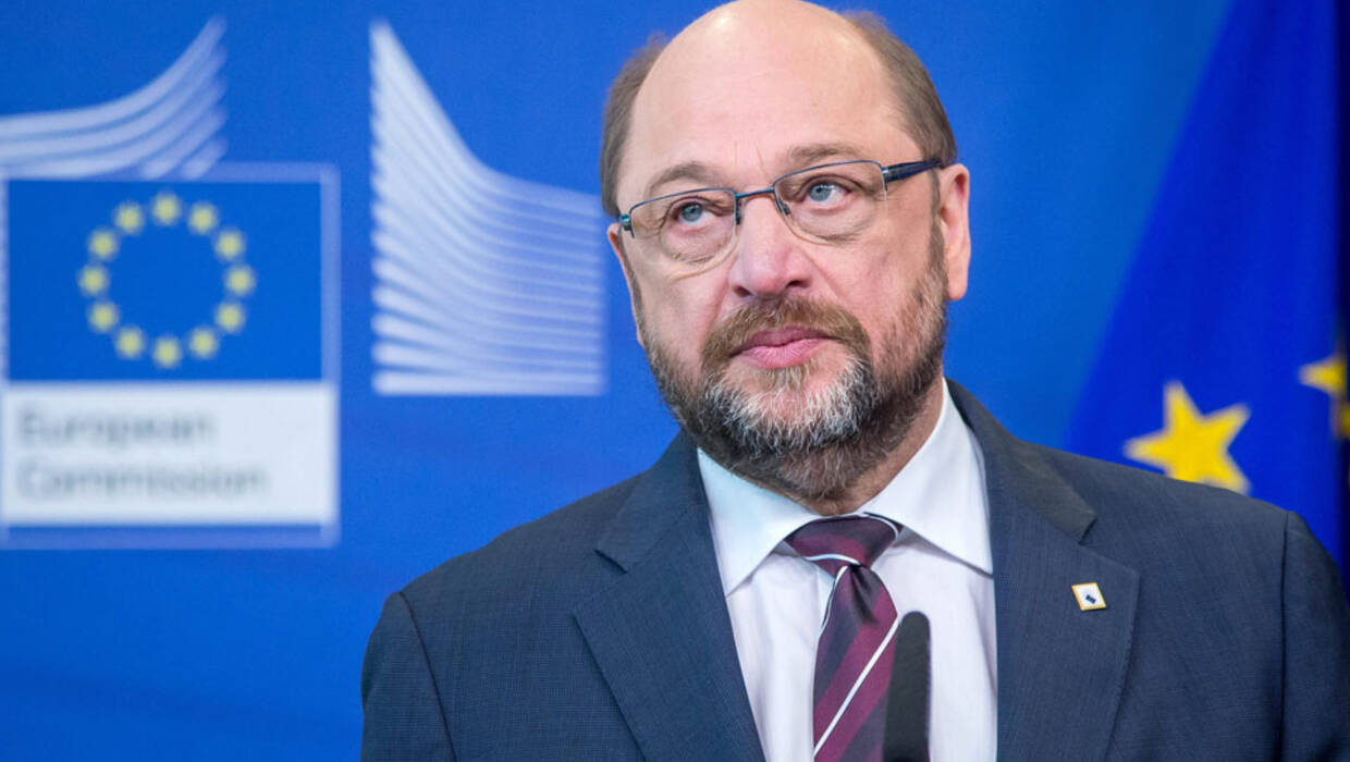 epa05215907 President of the European Parliament, Martin Schulz at a press conference on the side of a two-days European Union leaders summit in Brussels, Belgium, 17 March 2016. EU leaders on 17 and 18 March are to discuss a deal with Turkey that is aimed to tackle the migration crisis and curb migration into the bloc. EPA/STEPHANIE LECOCQ   Fot. PAP/EPA