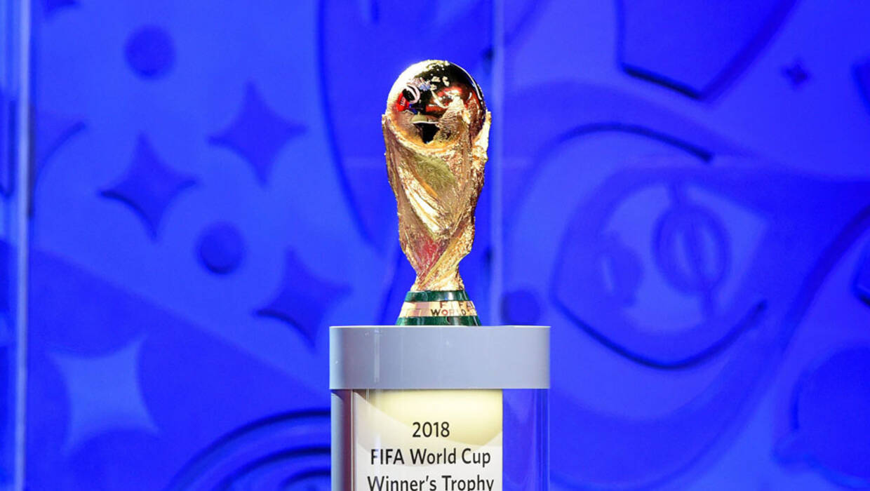 The FIFA World Cup Trophy on display during the Preliminary Draw of the FIFA World Cup 2018 at Konstantinovsky palace outside St.Petersburg, Russia, 25 July 2015.  Archiwum Fot. PAP/EPA © 2017 / MARCUS BRANDT