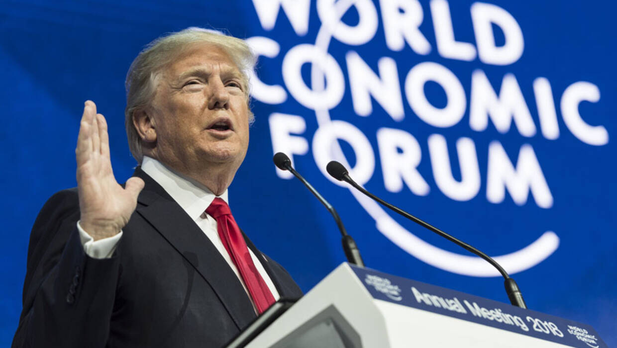 US President Donald J. Trump adresses a plenary session during the 48th Annual Meeting of the World Economic Forum (WEF) in Davos, Switzerland, 26 January 2018. The meeting brings together entrepreneurs, scientists, chief executive and political leaders in Davos from 23 to 26 January. Fot. PAP/EPA/LAURENT GILLIERON
