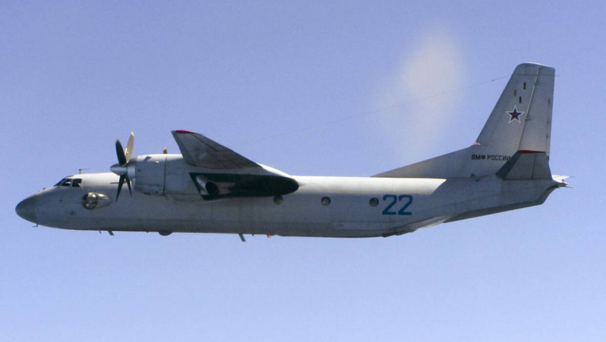 A handout photo provided by the British Ministry of Defence (MoD) on 09 June 2015 of a Russian Antonov AN-26 'Curl' aircraft photographed from a Royal Air Force (RAF) 'Typhoon' jet over the Baltic, 08 June 2015. Reports 06 March 2018 state Russian Defense Ministry has confirmed a Russian Antonov AN-26 military transport plane has crashed at the Khmeimim Air Base in Syria, killing 26 passengers and six members of the crew.  EPA/RAF / BRITISH MINISTRY OF DEFENCE/HANDOUT MANDATORY CREDIT: CROWN COPYRIGHT HANDOUT EDITORIAL USE ONLY/NO SALES  Dostawca: PAP/EPA. PAP/EPA © 2018 / RAF / BRITISH MINISTRY OF DEFENC
