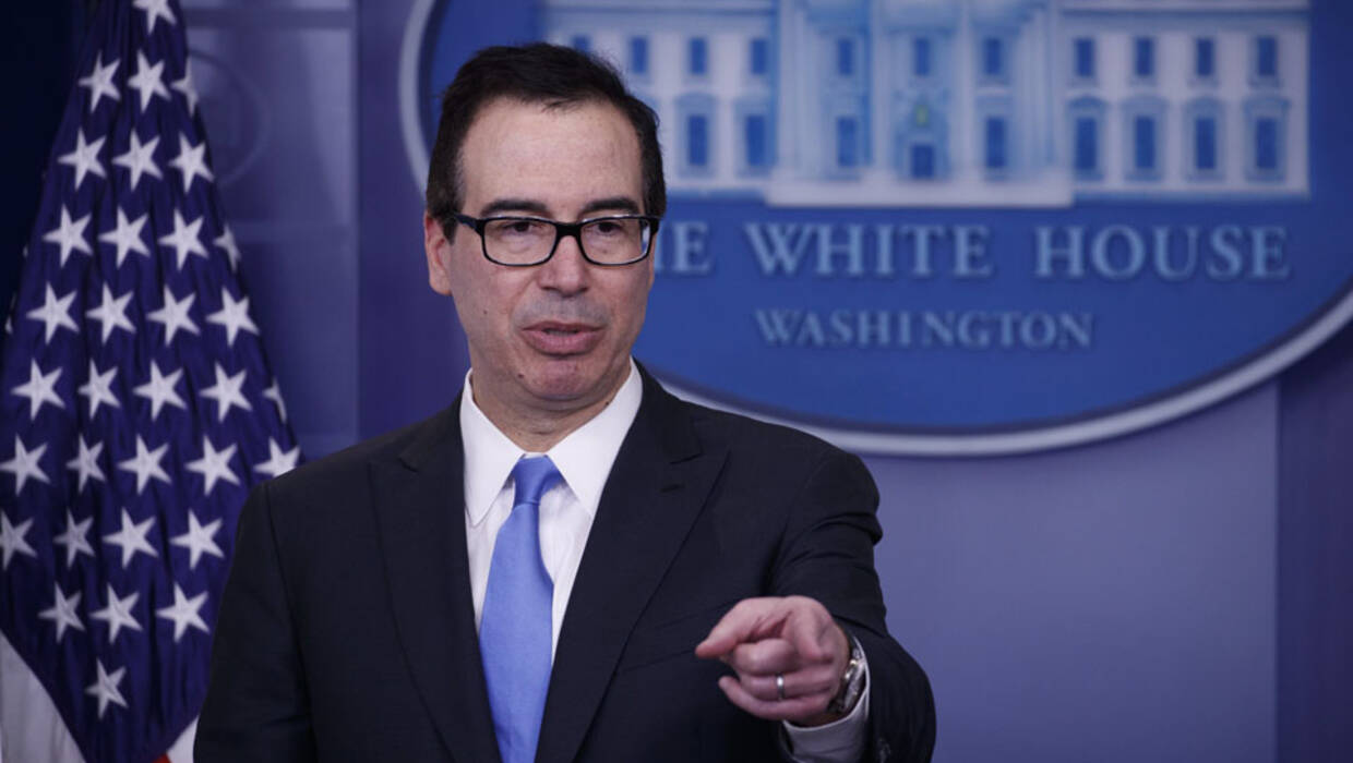 epa06605913 (FILE) US Secretary of Treasury Steve Mnuchin details a new set of sanctions against North Korea during a briefing at the White House in Washington, DC, USA, 23 February 2018 (resissued 15 March 2018). President Donald J. Trump's administration on 15 March 2018 is reported to have imposed sanctions on 19 Russians and five Russian companies, for interference in the 2016 US presidential elections. The sanctions came shortly after leaders of Britain, USA, Germany and France released a joint statement condemning a nerve agent attack on ex Russian spy Sergei Skripal and his daughter Yulia on 04 march in Salisbury, Britain.  EPA/SHAWN THEW  Dostawca: PAP/EPA. PAP/EPA © 2018 / SHAWN THEW