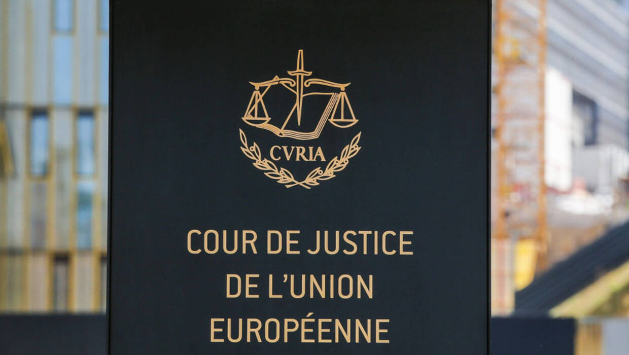 A general view of the entrance of the the Court of Justice of European Union during the first day of the trial on the European Union's proposed mandatory migrant quota scheme, in Luxembourg, 10 May 2017. Archiwum fot. PAP/EPA/JULIEN WARNAND