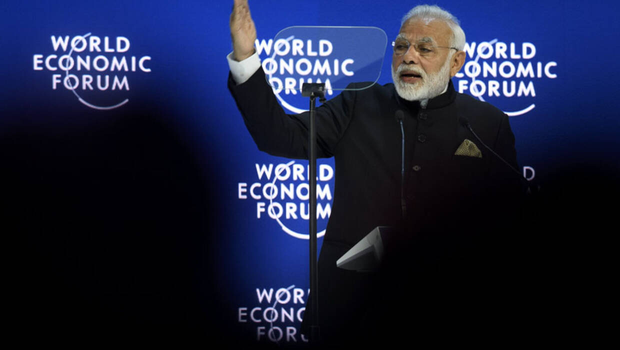 Narendra Modi, Prime Minister of India, speaks on the opening day of the 48th annual meeting of the World Economic Forum, WEF, in Davos, Switzerland, 23 January 2018.  Fot.  EPA/GIAN EHRENZELLER