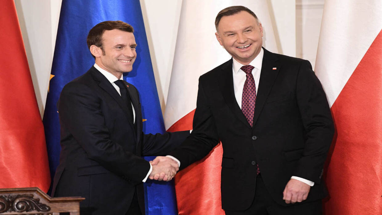 Polish President Andrzej Duda (R) and his French counterpart Emmanuel Macron (L).Photo PAP/ PAP/Radek Pietruszka